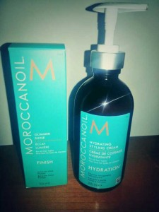 Moroccanoil shine spray and styling cream